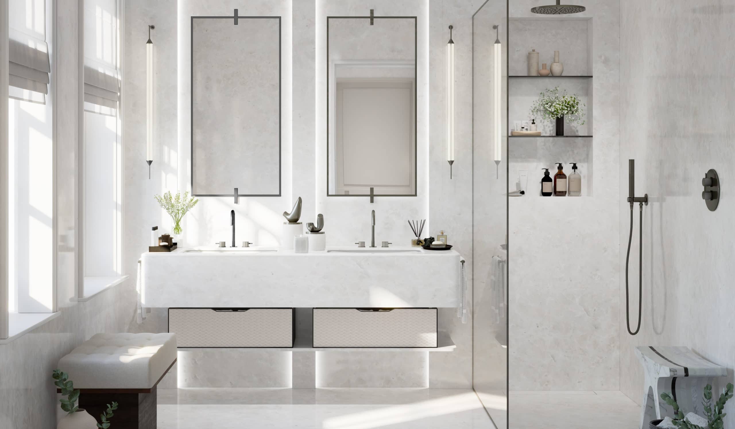 Master bathroom at 82 Mount Street apartments in London. All white with double vanity with mirrors and standing shower.