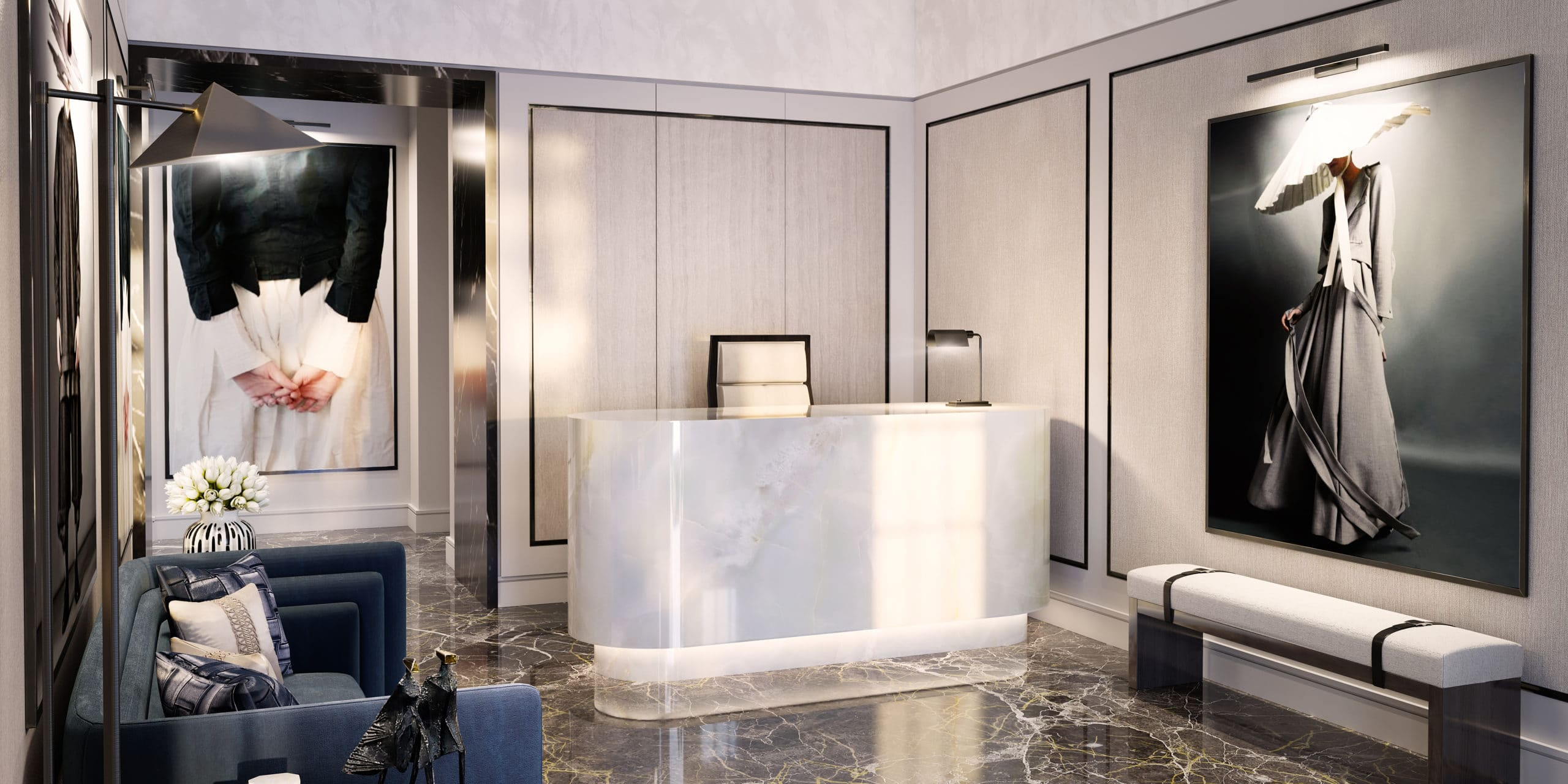 Reception at 82 Mount Street apartments in London. White rounded reception desk, paintings on the walls and a couch.