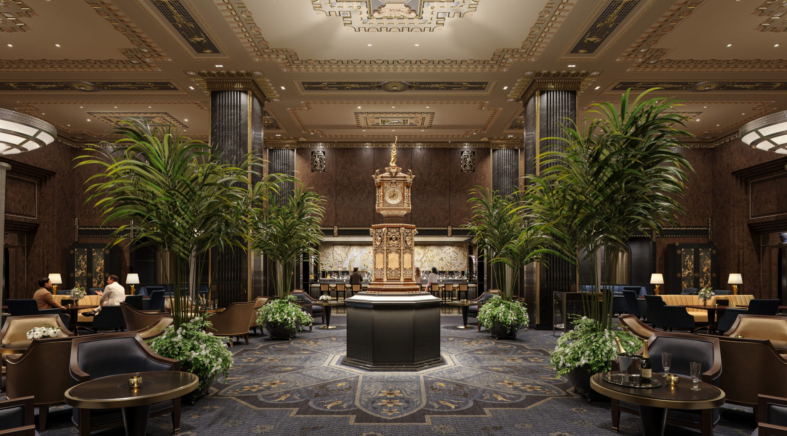 Rendering of reimagined clock in main lobby at the Waldorf-Astoria New York 5-star hotel.