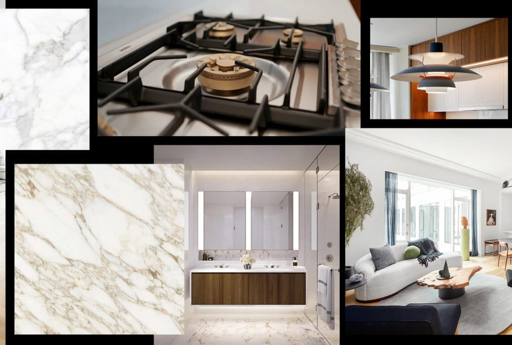 Collage of images from interior features inside The Hayworth luxury condominiums in New York City.