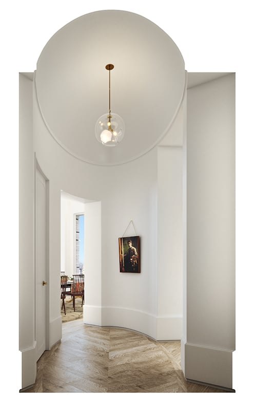 Interior view of 180 E 88th street residential gallery in New York City. Has white walls and small light fixture.